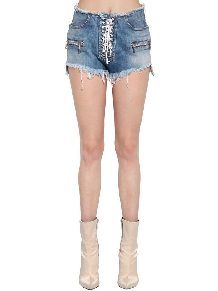 UNRAVEL Lace-up Cotton Denim Shorts in blue