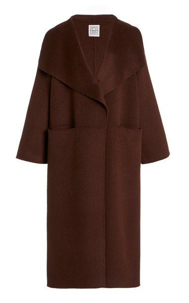 Toteme Annecy Oversized Wool and Cashmere Coat in brown
