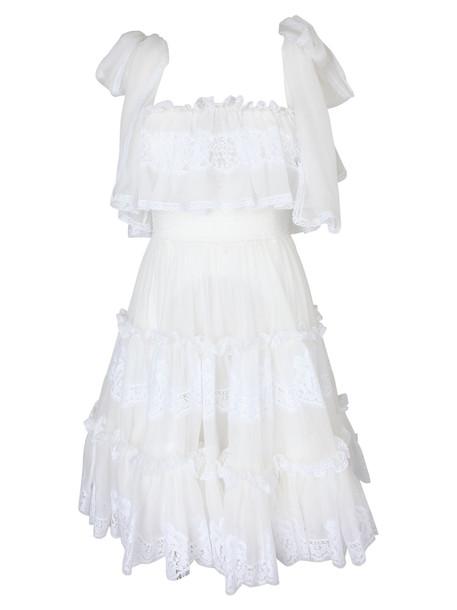 Dolce & Gabbana Floral Lace Trim Dress in bianco