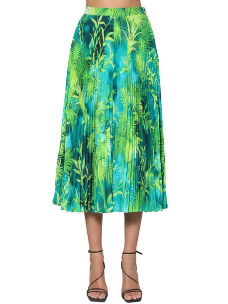 VERSACE Pleated Jungle Print Twill Midi Skirt in blue / green