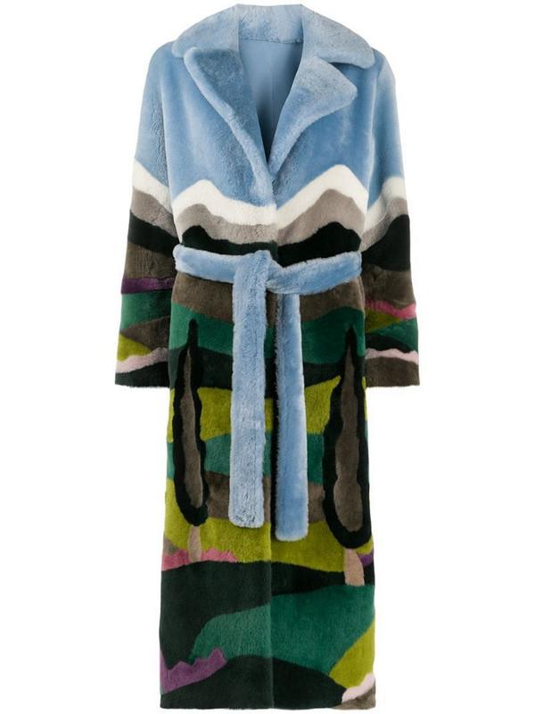 Liska forest print belted coat in blue