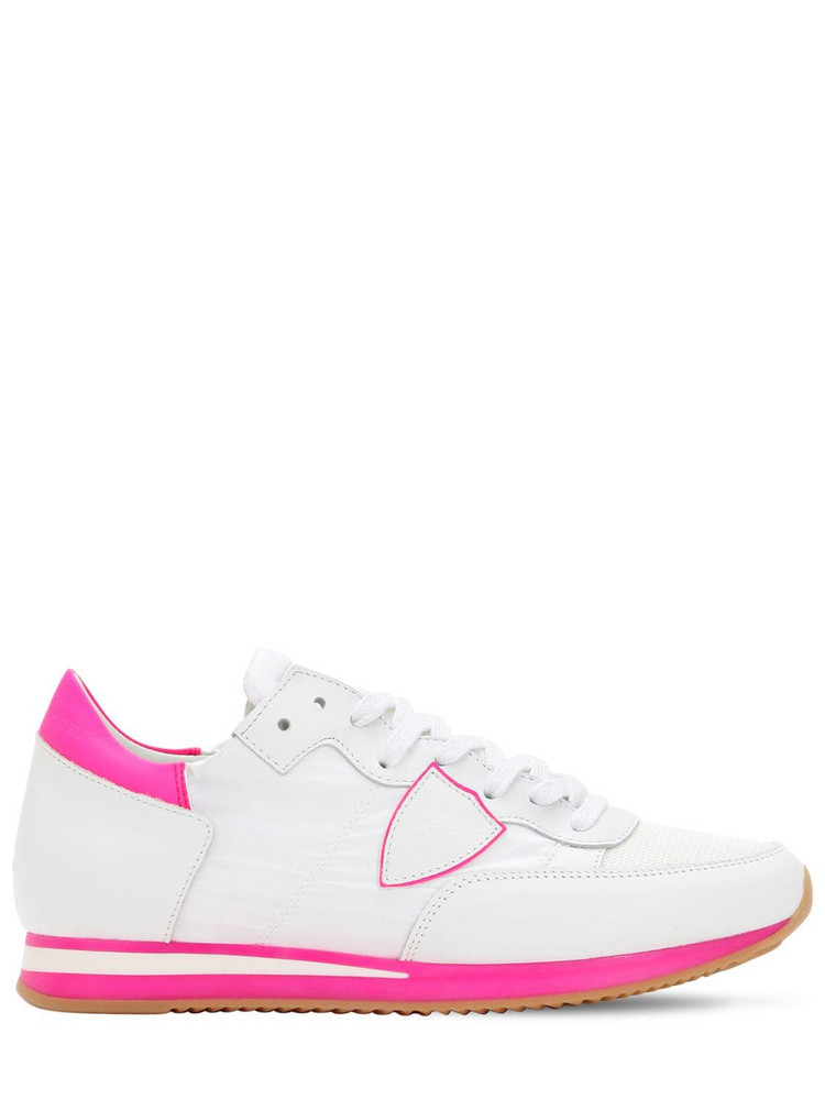 PHILIPPE MODEL Tropez Leather & Mesh Sneakers in pink / white