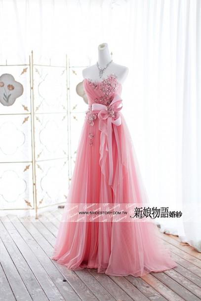 dress pink bow long glitter crystal diamonds elegant wedding wedding dress bridesmaid