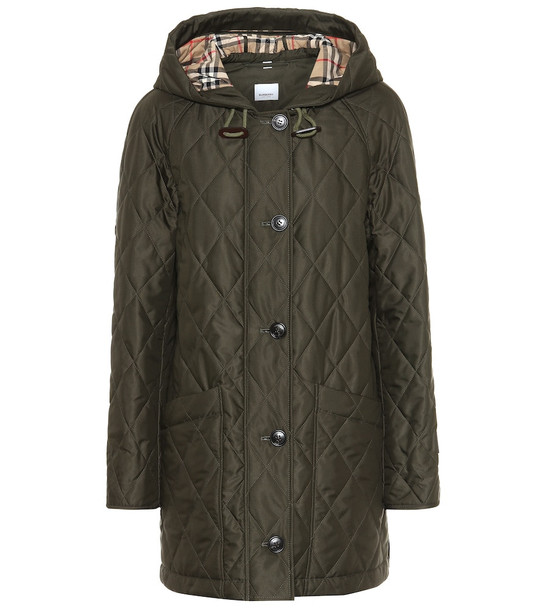 Burberry Quilted technical twill parka in green