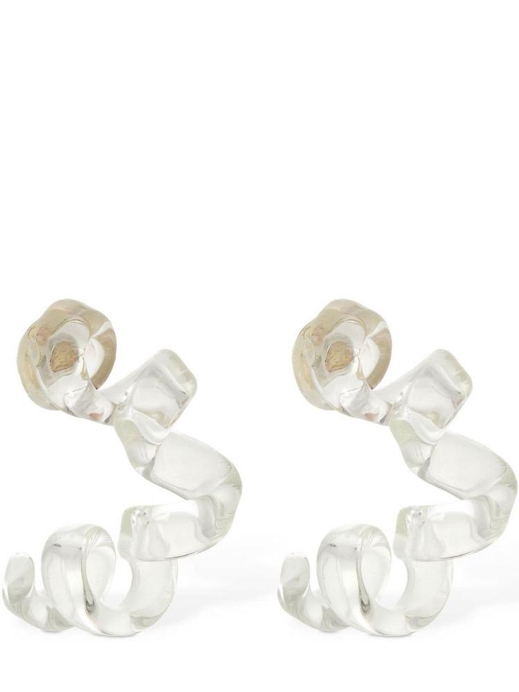 BOTTEGA VENETA Wrinkled Glass Hoop Earrings in silver / transparent