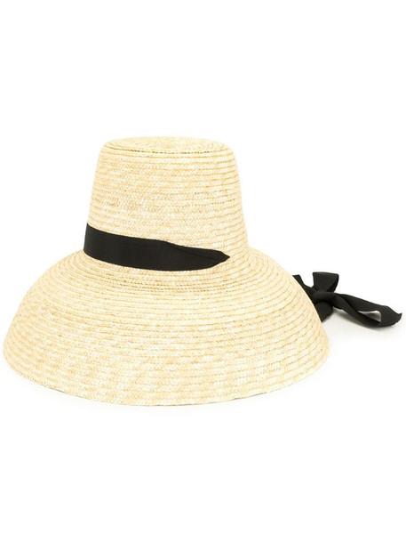 Kimhekim grosgrain-trimmed sun hat in brown