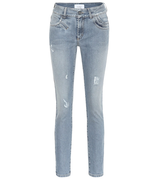 Givenchy Distressed high-rise skinny jeans in blue