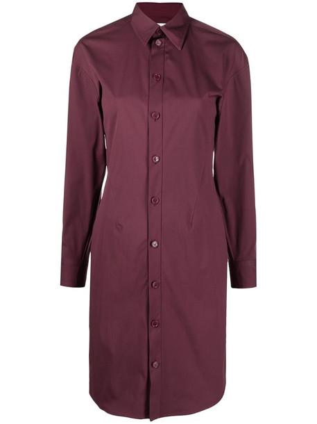 Bottega Veneta button-up shirt dress in red