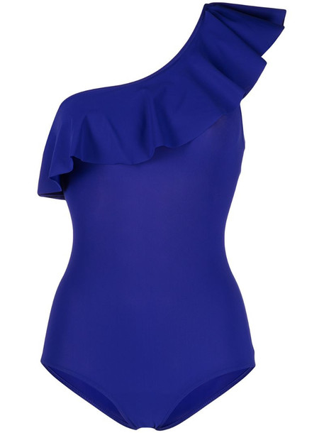 Isabel Marant Sicilya ruffled swimsuit in blue