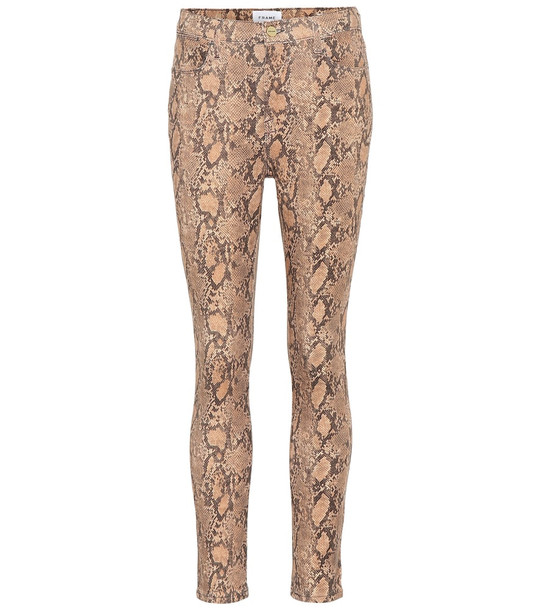 Frame Le High Skinny cropped jeans in beige