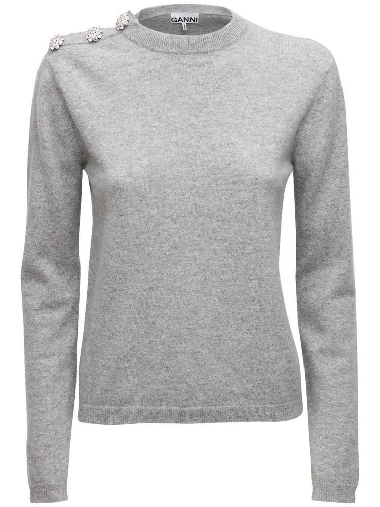 GANNI Embellished Cashmere Knit Sweater in grey