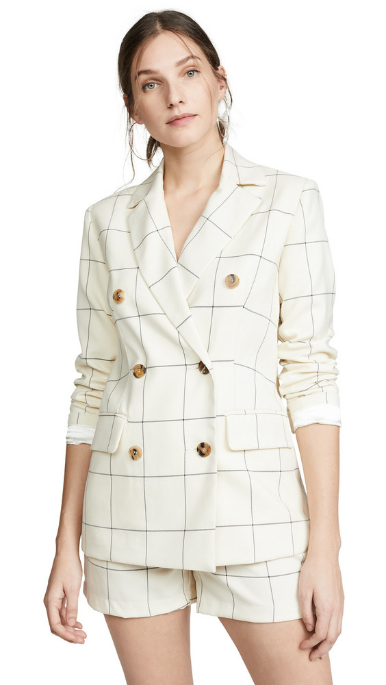 ei8htdreams Clare Checked Double Breasted Blazer in ivory