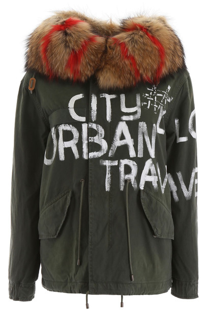 Mr & Mrs Italy Mini Parka With Fur And Shearling in green