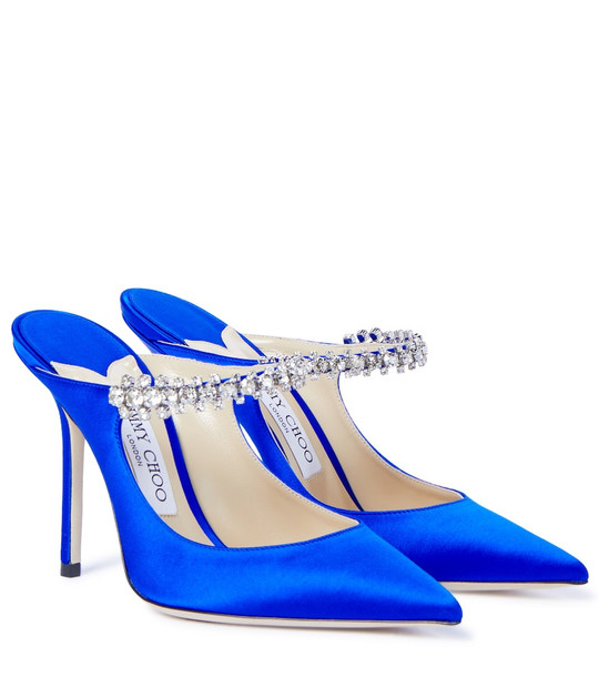 Jimmy Choo Exclusive to Mytheresa – Bing 100 embellished satin mules in blue