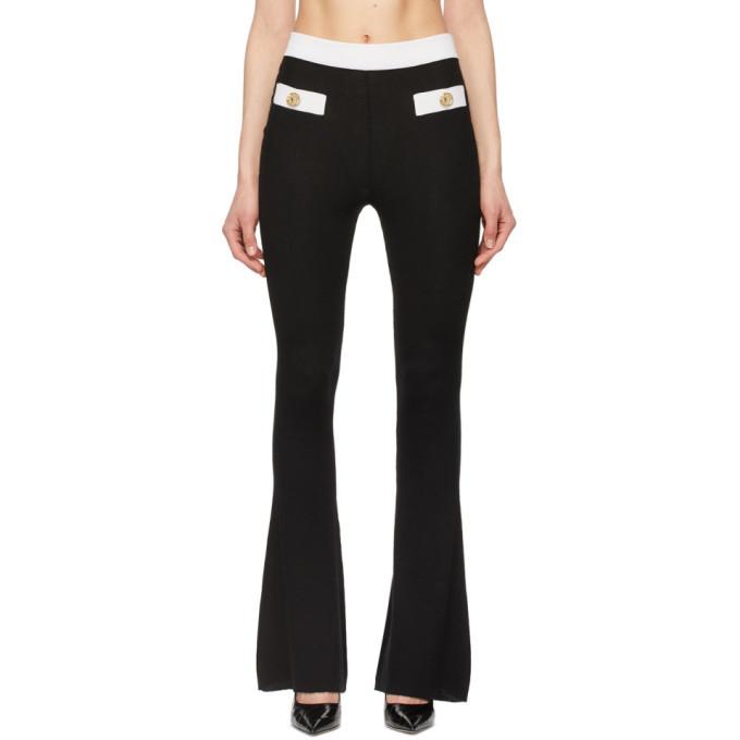 Balmain Black and White Cashmere Rib Knit Lounge Pants in noir