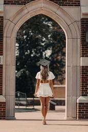 dress,cape,white dress,ruffle,graduation dress
