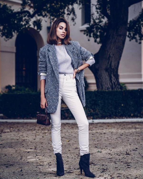 jacket blazer isabel marant oversized black boots ankle boots white jeans skinny jeans high waisted jeans handbag grey sweater