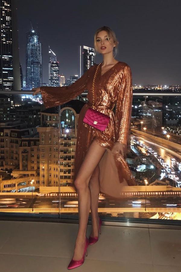 dress sequins sequin dress elsa hosk model off-duty instagram