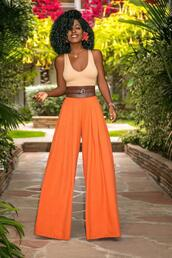 blogger,pants,top,belt,orange pants