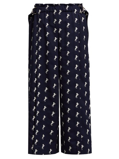 Chloé Chloé - Little Horses Embroidered Cropped Wool Trousers - Womens - Navy White