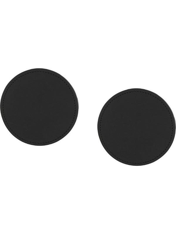 d'heygere round leather earrings in black