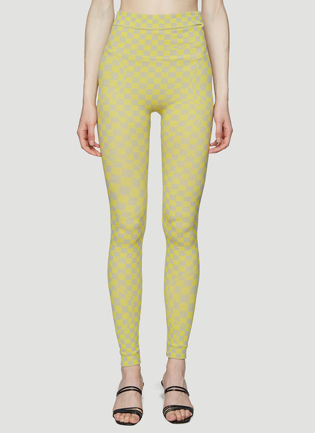 Off-White Bubble Check Leggings in Yellow size L - XL