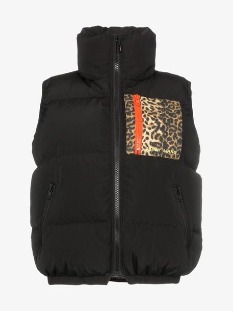 Sandy Liang primrose puffer vest in black / leopard