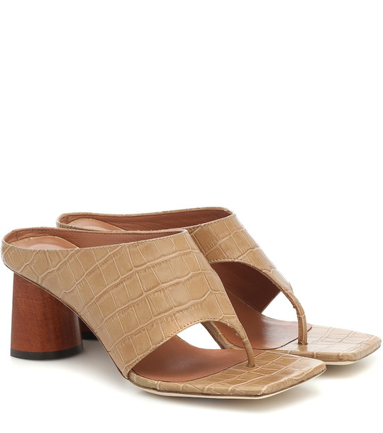 Rejina Pyo Lina croc-effect thong sandals in brown