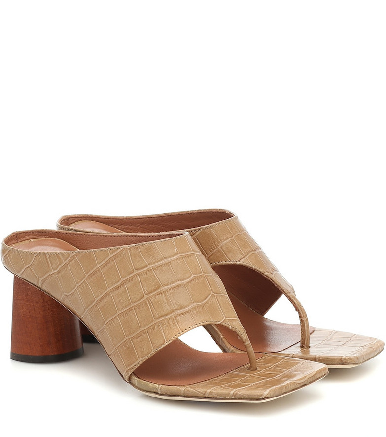 Rejina Pyo Lina leather thong sandals in brown