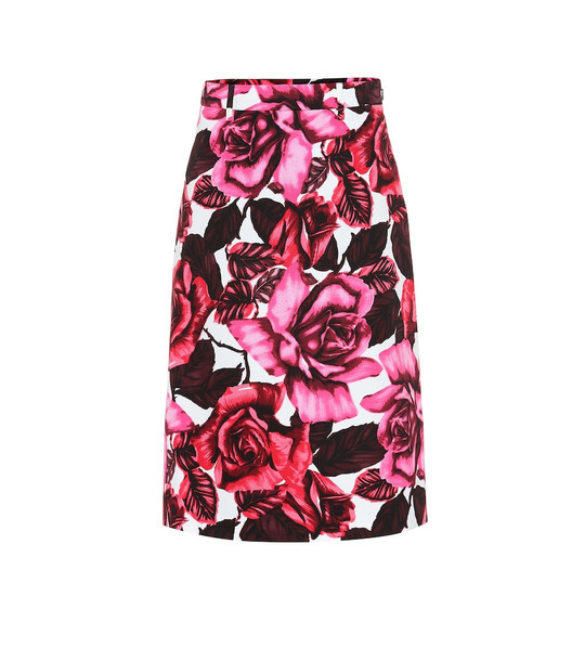 Prada Floral cotton-poplin skirt in pink