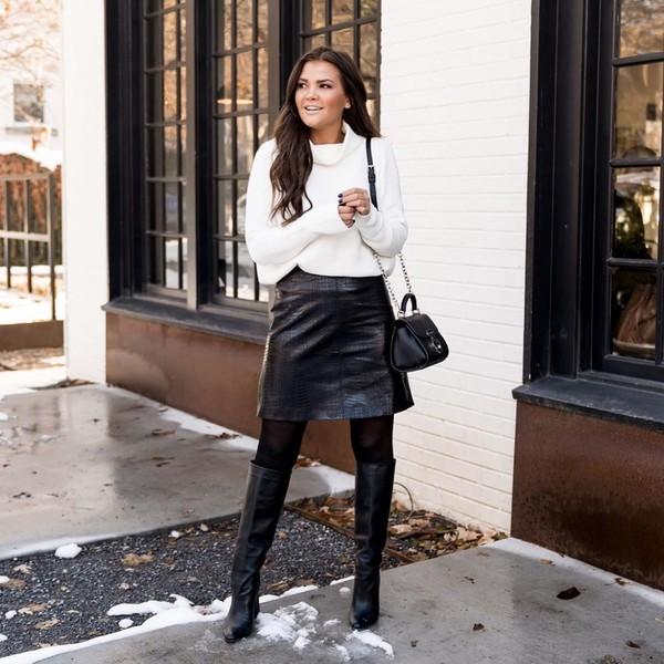 skirt black skirt knee high boots black bag tights white sweater