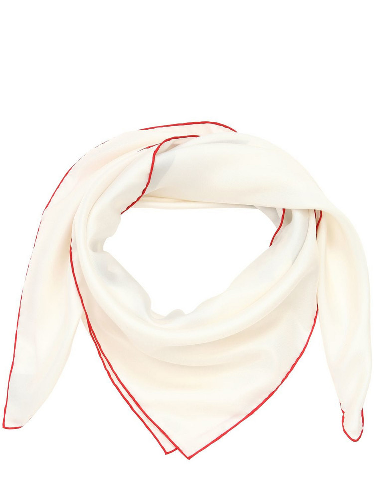 BURBERRY Logo Print Silk Scarf in white