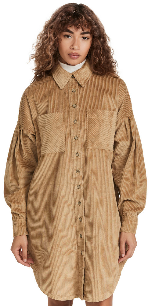 byTiMo Corduroy Shirt Dress in beige
