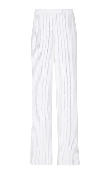 Michael Kors Collection Pinstriped Crepe Wide-Leg Pants Size: 2 in white