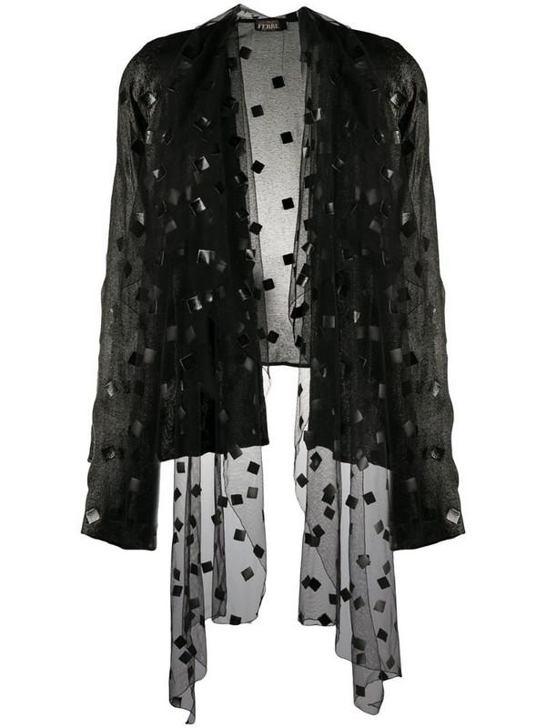 Gianfranco Ferré Pre-Owned 1990s metallic sheen open-front jacket in black