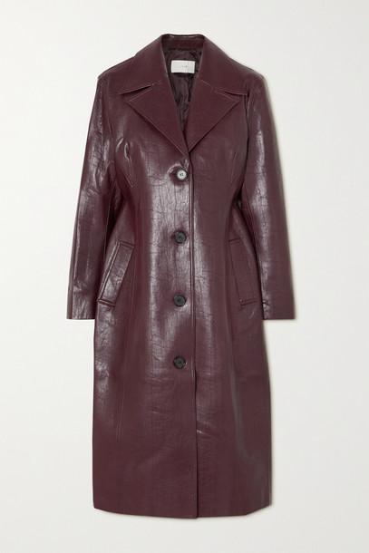 LVIR - Faux Leather Coat - Burgundy