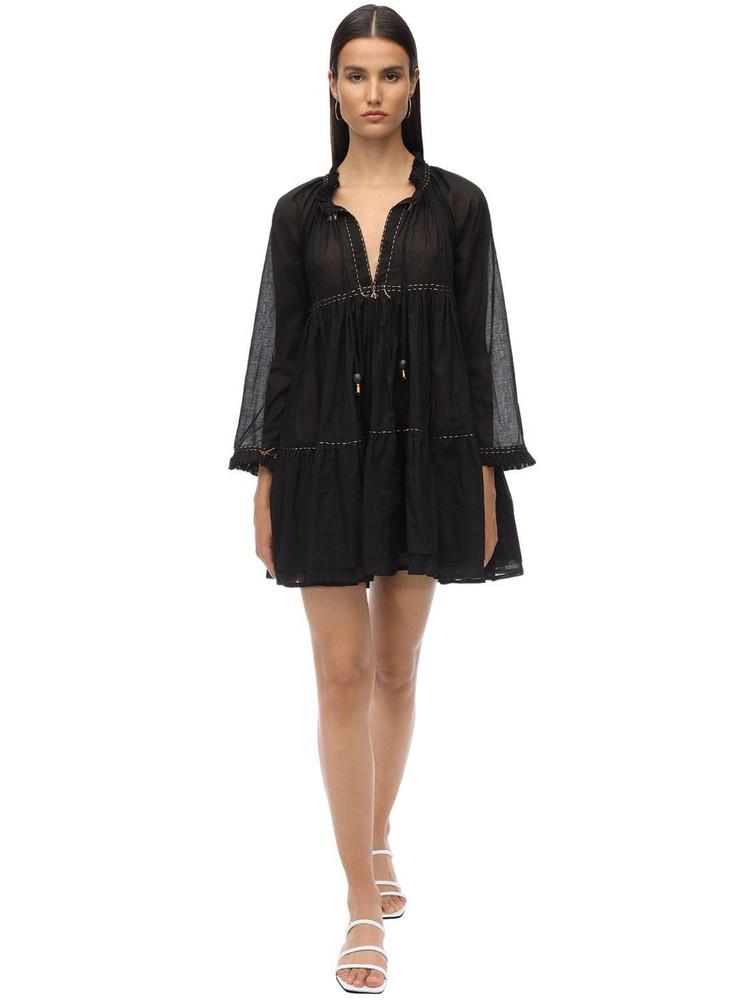 YVONNE S Cotton Voile Mini Dress in black