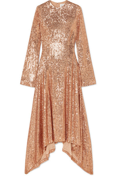 Galvan - Asymmetric Sequined Tulle Gown - Blush