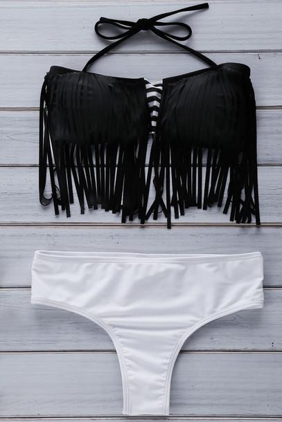 swimwear dressfo stripes black and white bikini instagram indie fringes