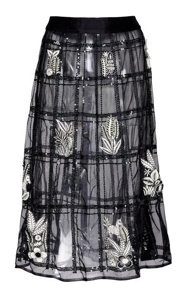 Rahul Mishra A-Line Fleur Skirt in black