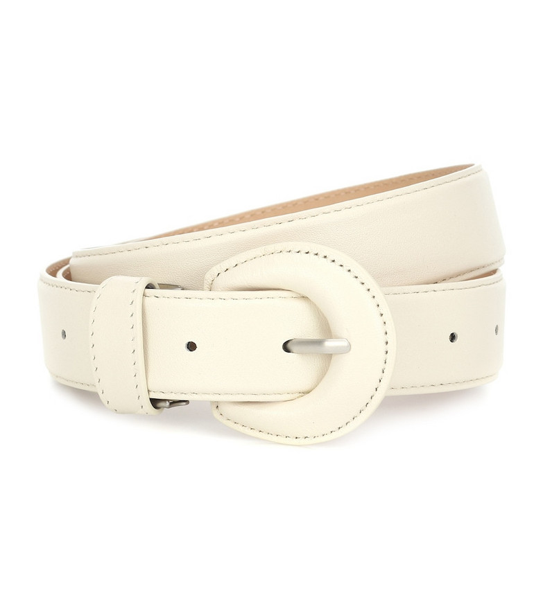 Low classic Leather belt in white