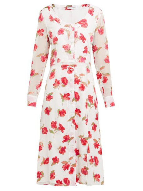 Altuzarra - Livia Poppy Devoré Waistband Midi Dress - Womens - White Multi