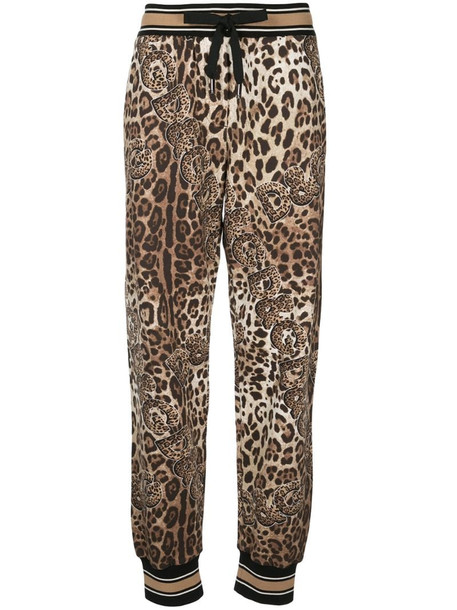 Dolce & Gabbana leopard print track pants in brown