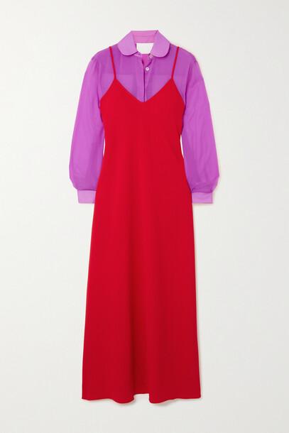 Racil - Alaya Crepe De Chine And Chiffon Dress And Shirt Set - Red