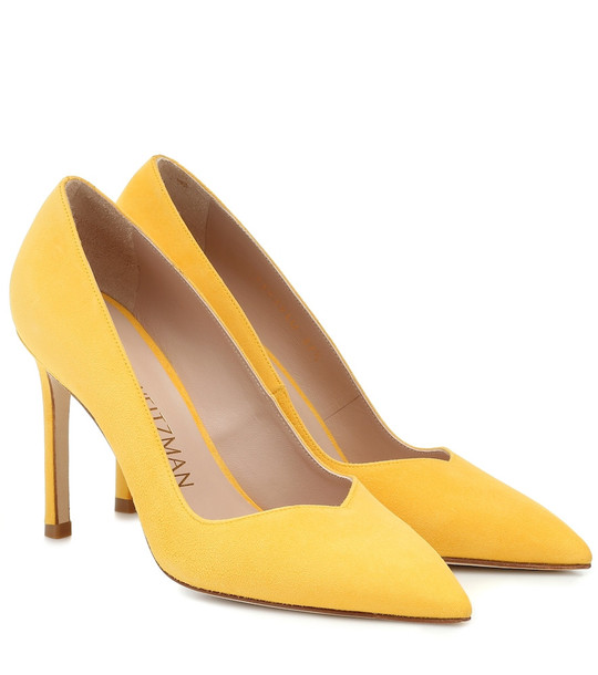 Stuart Weitzman Anny 95 suede pumps in yellow