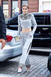 top,embellished,gigi hadid,streetstyle,streetwear,grey,sweatpants