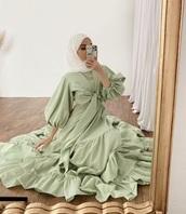 dress,green,hijab,instagram