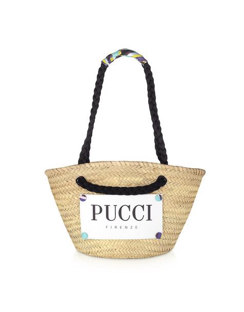 Emilio Pucci Burnt & Natural Straw Tote Bag