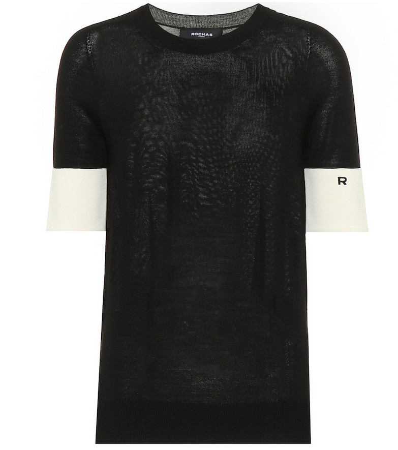 Rochas Wool-blend short-sleeved sweater in black