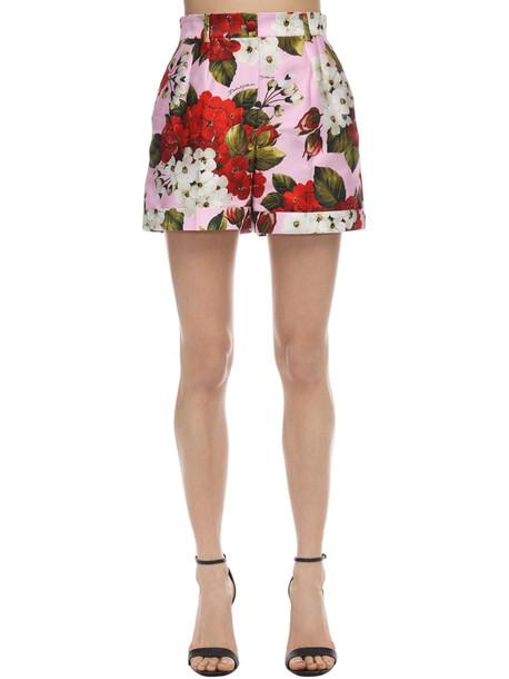DOLCE & GABBANA Geranium Print High Waist Poplin Shorts in pink / red / white
